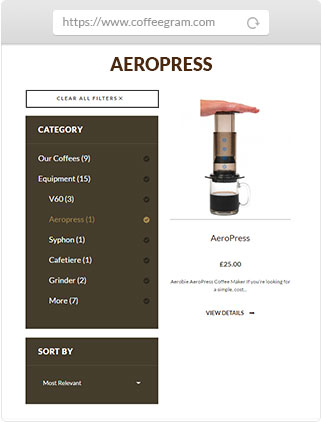 Coffeegram website aeropress product