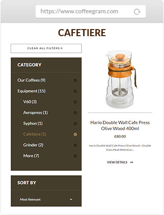 Coffeegram website cafetiere product