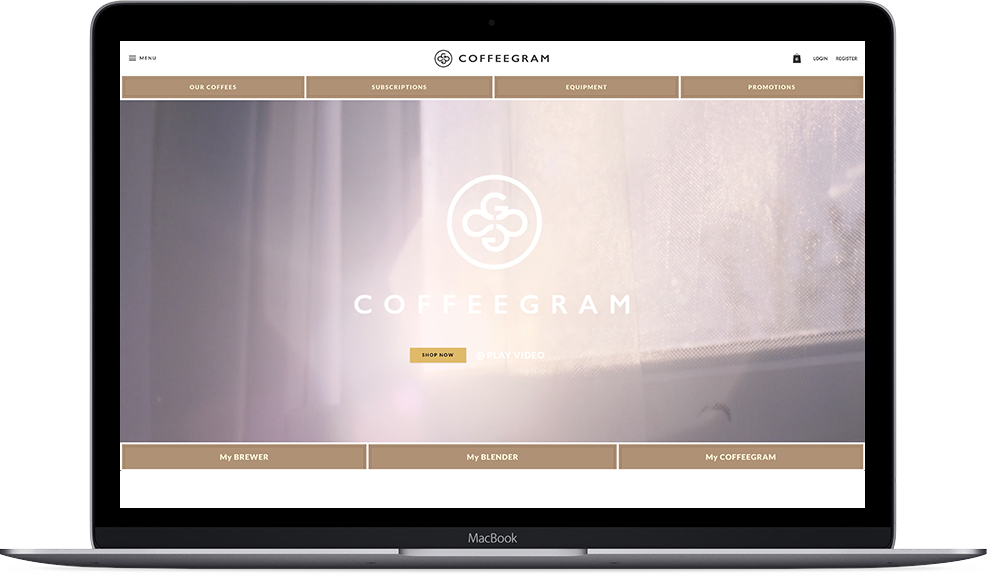 Coffeegram website on macbook