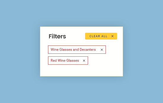 Cranville wines sort filters example 1