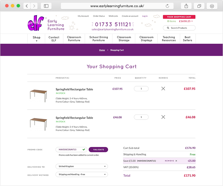 ELF Early Learning Furniture website shopping cart example