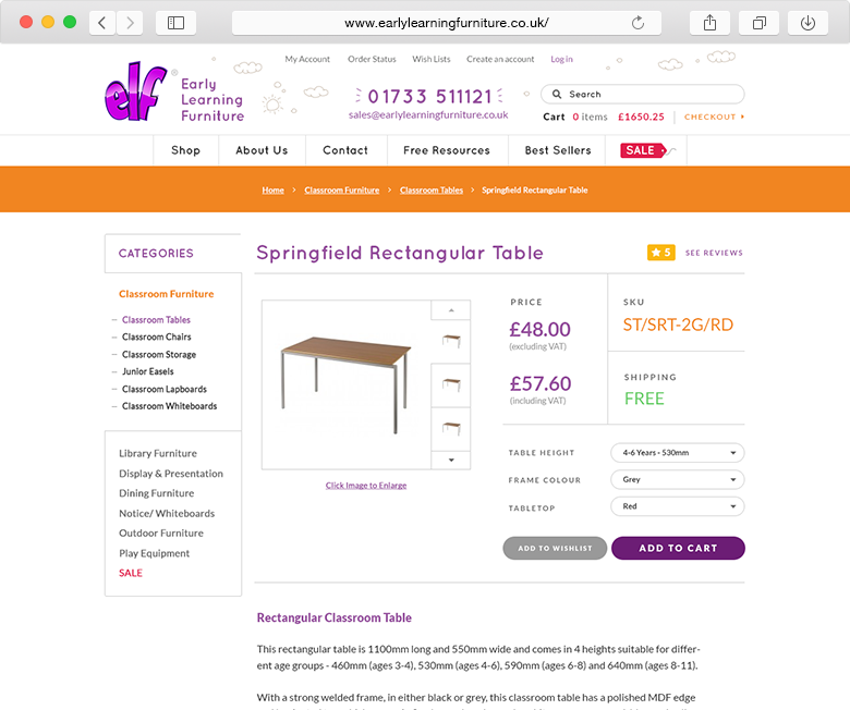 ELF Early Learning Furniture website product example