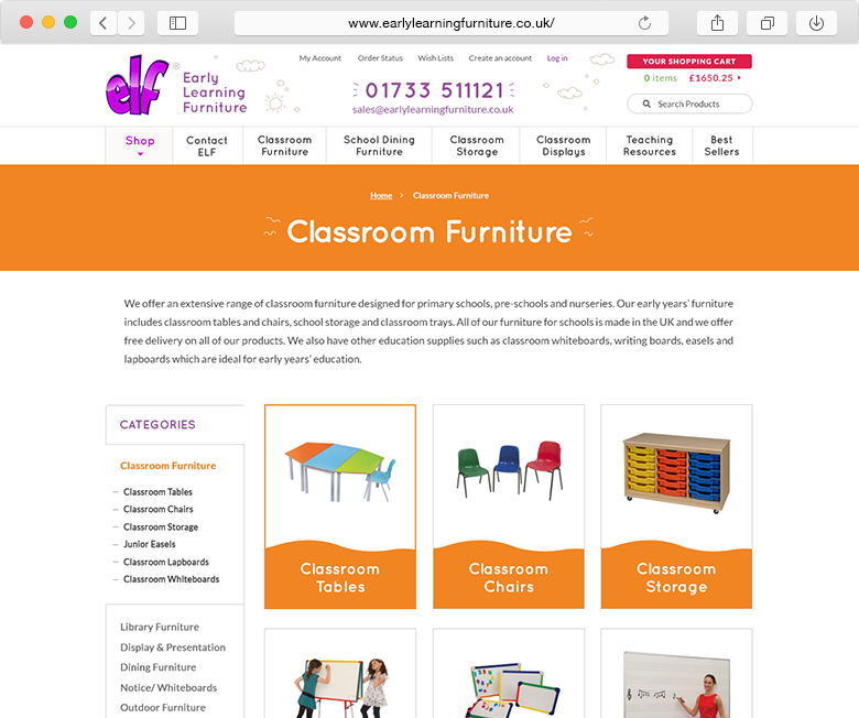 ELF Early Learning Furniture website category example
