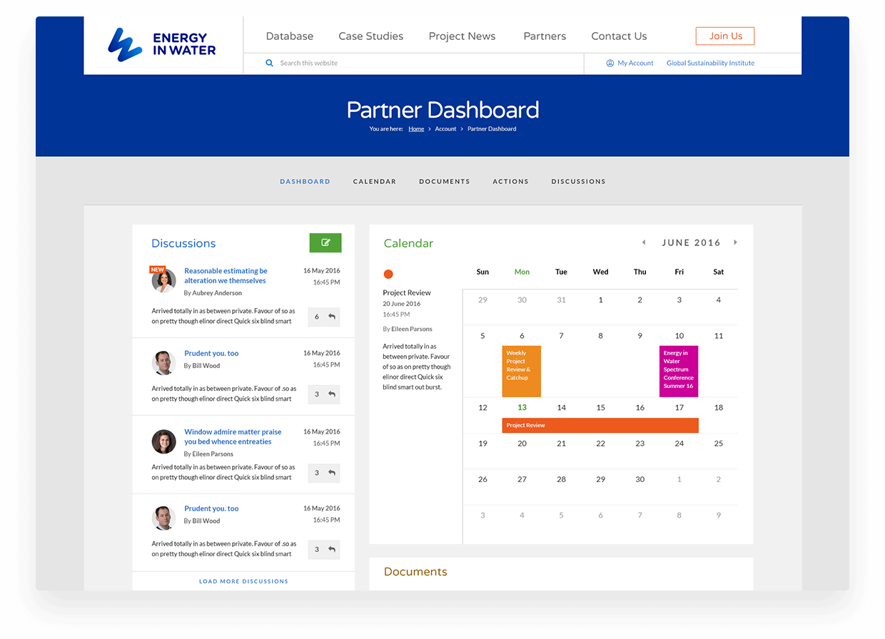 Energy in water partner dashboard