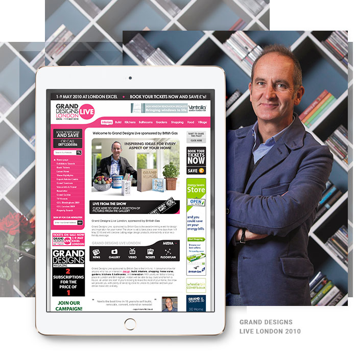 Grand Designs Live website example image on device
