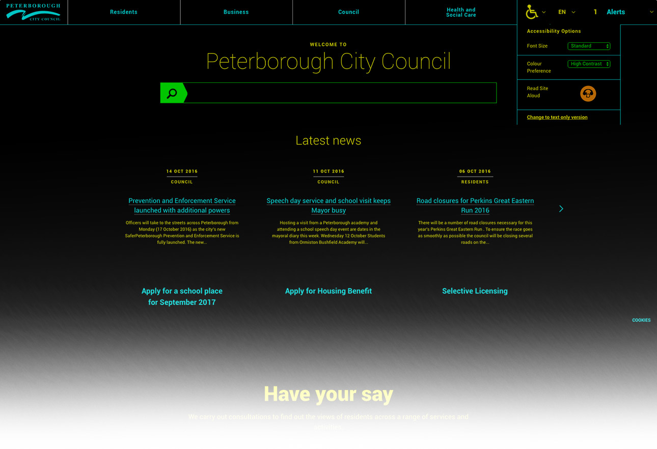 Peterborough City Council accessibility website screenshot 3