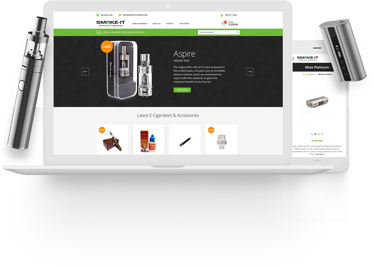 SMOKE-IT Ecommerce website screenshot