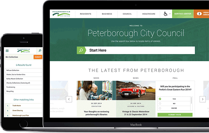 Peterborough City Council websites on device
