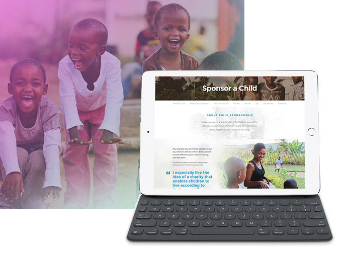 Example responsive design for Sponsor a child website