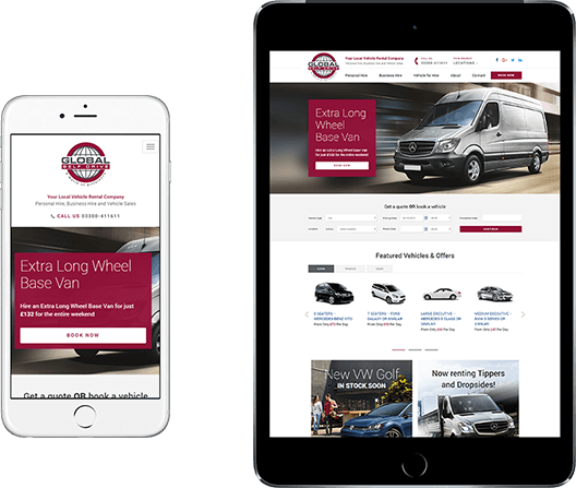 Example Wordpress website template for van hire